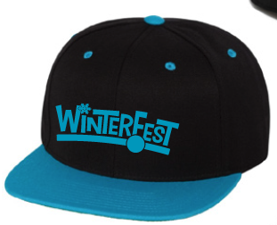 WinterFest SnapBack, black with neon teal, no year