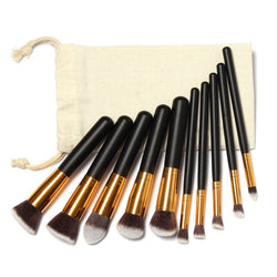 [Exclusive] 10 Pieces Professional Make Up Set with Free Drawstring Bag (4 Colours Available)