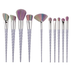 10 Pieces Pale White Unicorn Makeup Brush Set
