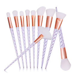 10 Pieces Pure White Unicorn Makeup Brush Set