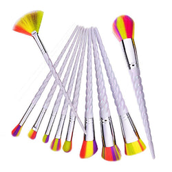 10 Pieces White Fluorescent Unicorn Makeup Brush Set