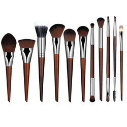 Unicorn Mahogany Makeup Brushes in Sets of 5 or 6 Pieces