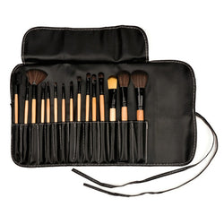 15 Pieces Professional Makeup Brushes comes with Leather Case with White Detailing