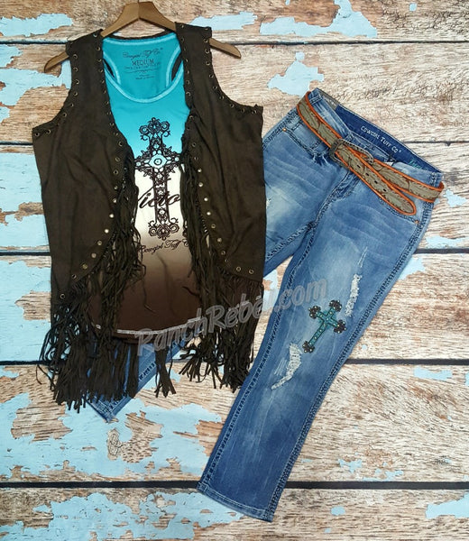 Turquoise Feather Belt #1757