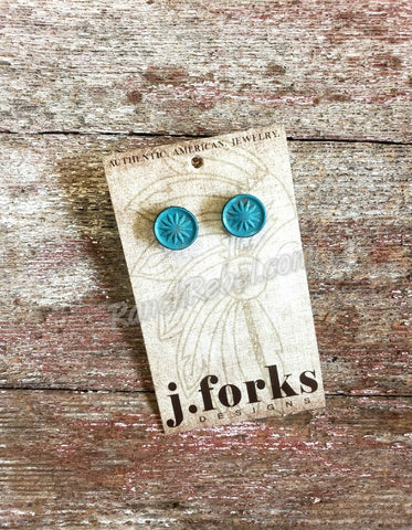 J Forks Leather Post Earrings Turquoise #3230