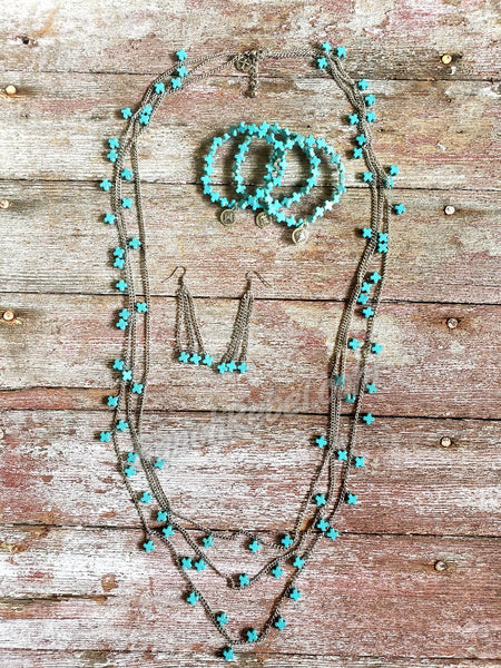 Three Strand Mini Turquoise Cross Necklace #3359