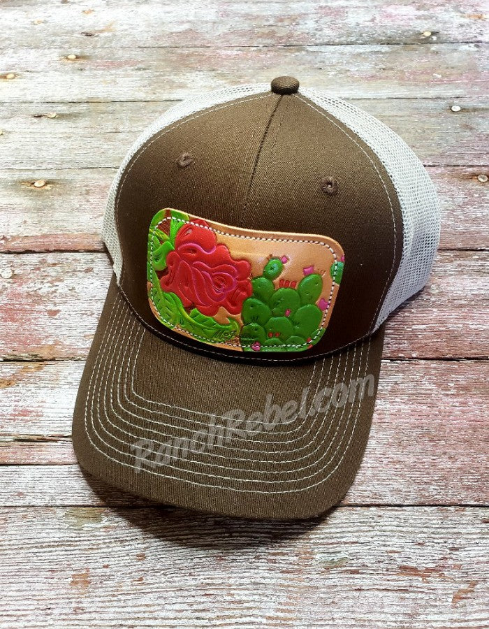 Rose Cactus Leather Patch Cap #3421