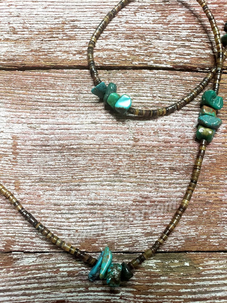 J Forks Kingman Turquoise & Pin Shell Wrap Necklace #3437