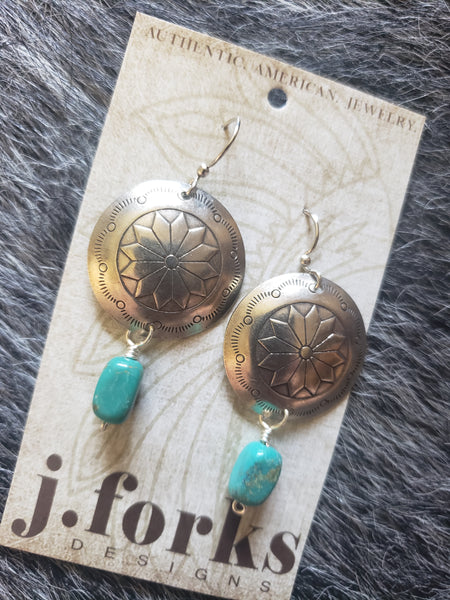 J Forks Concho & Turquoise Stone Dangle Earrings #3454