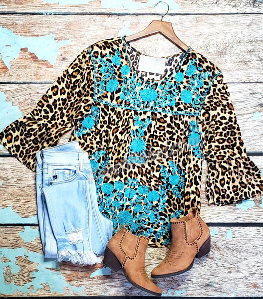 Venessa Leopard Embroidered Top #3478