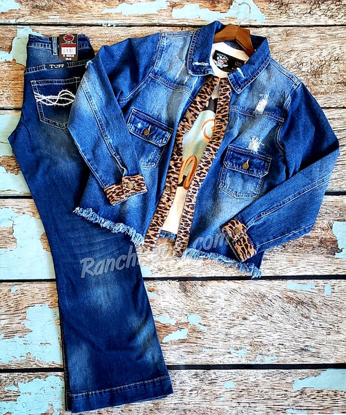 Desert Leopard Denim Jacket #3769