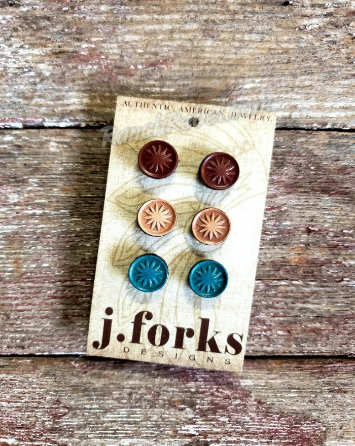 J Forks Leather Post Earring Trio #3225