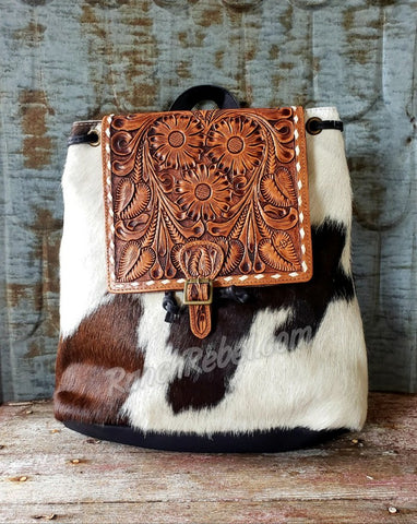 Buck Stitch Black Cowhide Back Pack #3918-2