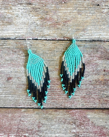 Beaded Turquoise Fringe Earrings #3929