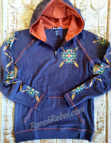 Cowgirl Tuff Navy Fleece Cross Hoodie #3642