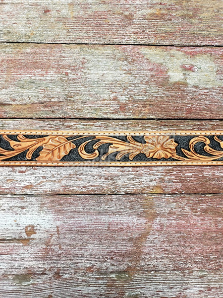 Black & Natural Tooled Leather Purse Strap #3376