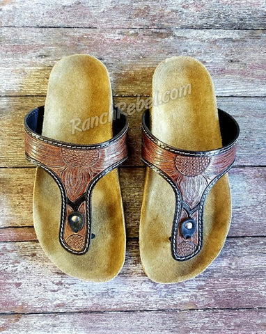 Happy Trails Tooled Sandal #3739