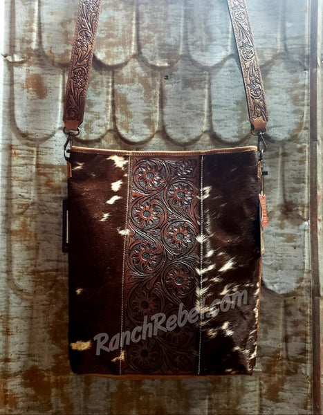Tooled Leather Floral Cowhide Bag #3457-2