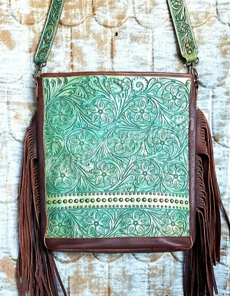 Turquoise Tooled Leather Fringe Bag #3484