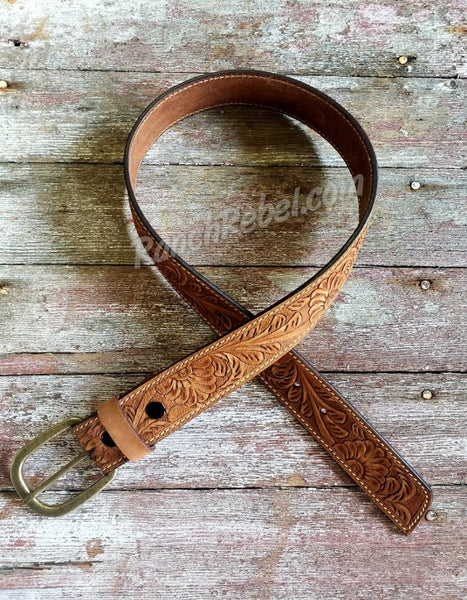 Brown Floral Tooled Leather Belt #3266