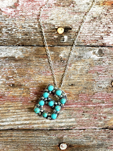 Kingman Turquoise Initial Necklaces #3581