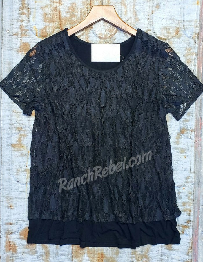 Black Aztec Lace Top #3402