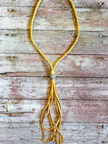 Braided Leather Buffalo Necklace in Mustard #3677