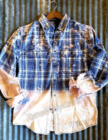 Blue Jean Baby Ombre Distressed Flannel #2869