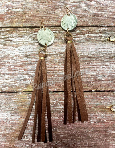 J Forks Indian Head Nickel Tassel Earrings in Chocolate #3447