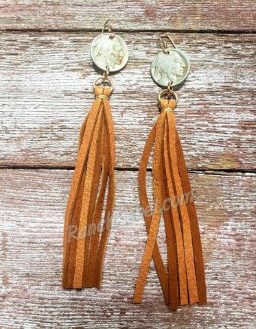 J Forks Indian Head Nickel Tassel Earrings in Cognac #3449