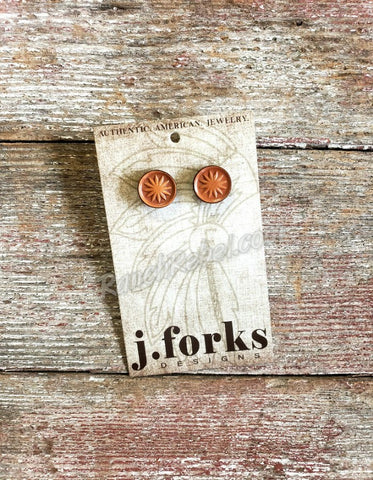 J Forks Leather Post Earrings Natural #3231