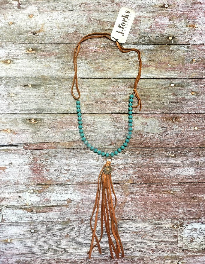 J Forks Seafoam Crystal Indian Head Nickel Tassel Necklace #3430