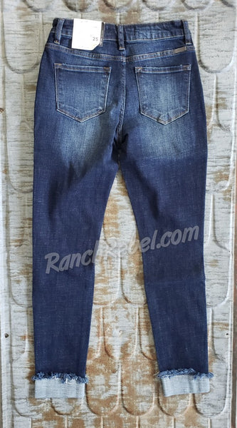 KanCan Dark Wash Cuffed Crop #3749