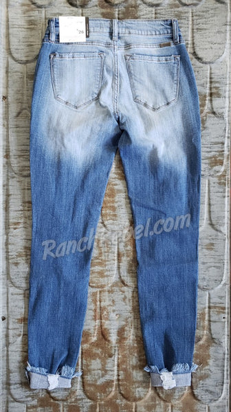 KanCan Light Wash Cuffed Ankle Skinny #3750