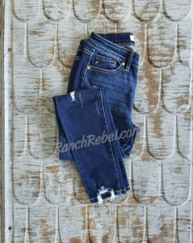 KanCan Dark Wash Destroyed Ankle Skinny #3754