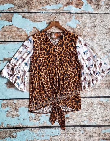 Leopard Southwest Bell Sleeve Top #2742
