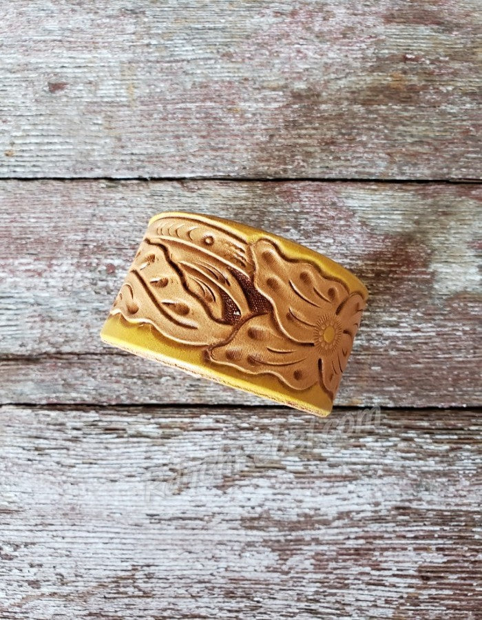 Mustard Tooled Leather Cuff #2785