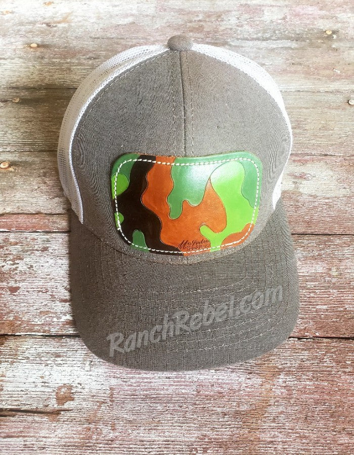 Leather Camo Patch Cap #3296