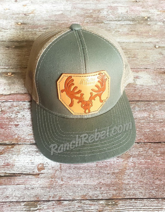 Deer Skull Leather Patch Cap #3297