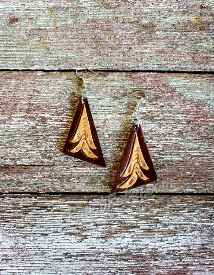 Tooled Leather Triangle Earrings #3130