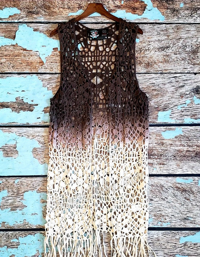 Long Crochet Ombre Vest #2490
