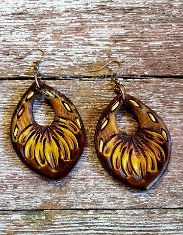 Pretty Prairie Leather Earrings #3669