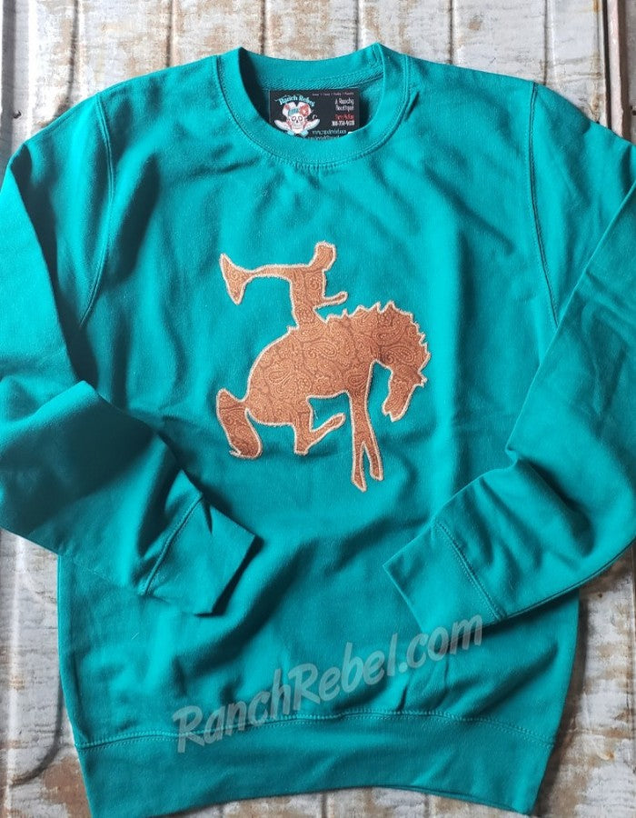 Tooled Leather Bronc Sweatshirt #3095