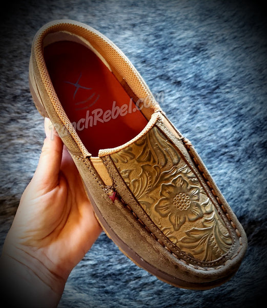 Twisted X Tooled Leather Slip On Driving Moc #3594