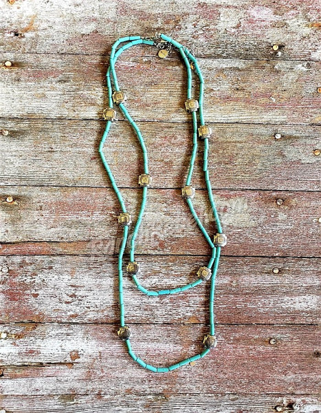 "Turquoise Cross Necklace 30"" #2934"