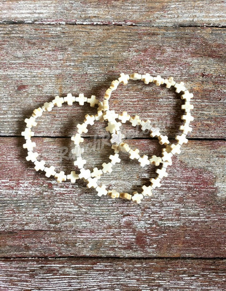 ivory Cross Stretch Bracelet #3361