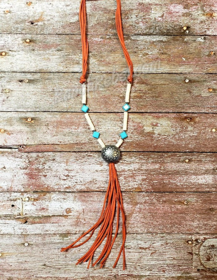 Rust Concho Tassel Necklace #3085