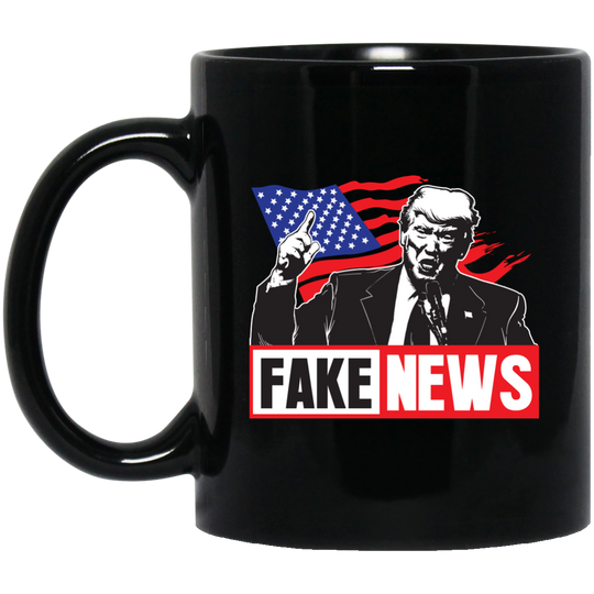 Fake News Trump Union Jack Finger Up Fake News Trump, American Flag, Mugs With Quotes, Mugs For Mom, Mugs For Men, Trump Fake News, Mugs for Dad, Coffee Mugs BM11OZ 11 oz. Black Mug