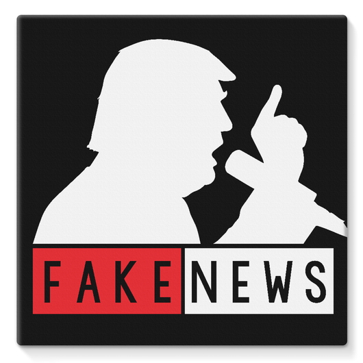 Fake News Trump with Mic Stretched Canvas