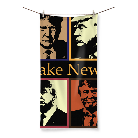 Trump 4Head Fake News Fake News, Trump, 4 Portraits, Beach Towel